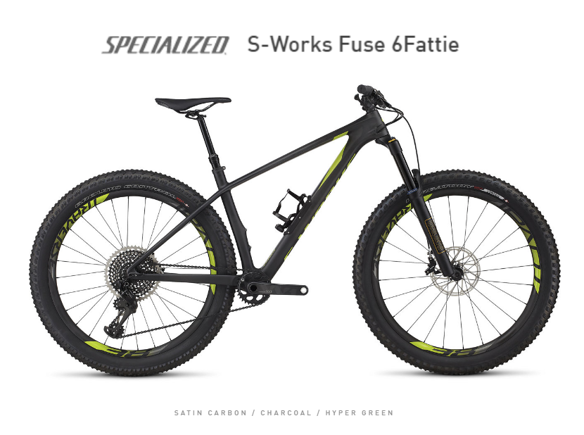 Specialized SATIN CARBON / CHARCOAL / HYPER GREEN S-Works Fuse 6Fattie